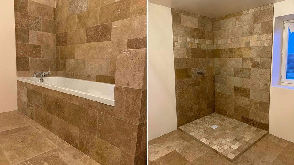 Rénovation d'une salle de bain en pierres naturelles A à Z Revêtements